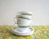 Corelle Corning Pyrex Hook Handle Retro Coffee Cups and Saucers, Spring Blossom Pattern, Corning Ware Tea Cups, Crazy Daisy