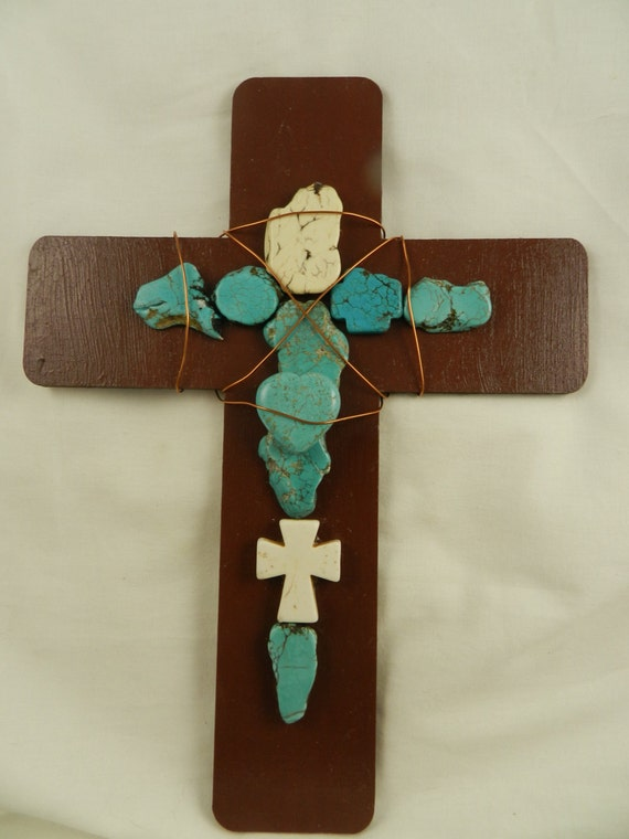 Unique Handmade Wall Decor : Items similar to turquoise stone wooden wall cross decor