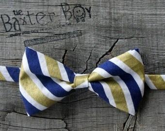 Navy & Gold diagonal stripe little boy bow tie, pre-tied - photo prop, wedding, ring bearer, accessory, birthday boy