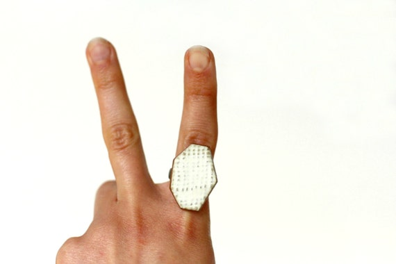 Geometric Pottery Ring- Rustic Cream