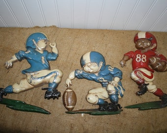 Homco Football Players Wall Decor - set of 3