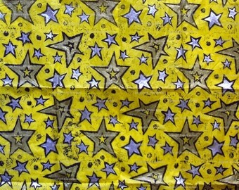 Large sheet yellow tissue paper, handprinted with stars linoprint