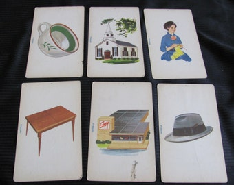 Vintage French Phonics Flash Card - mother church cup hat store table