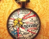 Custom Map Jewelry, Knoxville Tennessee University Volunteers Vintage Map Pendant Necklace, Personalize Map Jewelry, Map Cuff Links Gifts