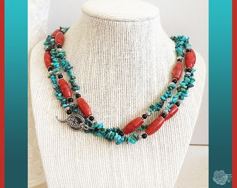 """54"""" Wrap Necklace Turquoise Chips Red Coral Tubes Black Pearls Pewter Alligator Fancy Toggle Clasp And/Or Sterling Silver Leverback Earrings"""
