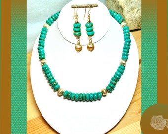 """17"""" Necklace 10mm Turquoise Rondels Brushed Silver Rondels Sterling Silver Daisies Necklace And/Or Earrings With Sterling Silver Ear Wires"""