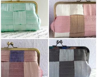 Custom clutch, Multi colored woven silk clutch in frame, personalized clutch, bridesmaid clutch, wedding clutch