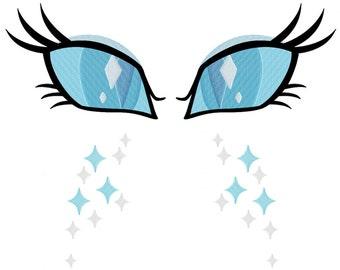 PES FILES: Nightmare Rarity Eyes & Cutie Mark Machine Embroidery Design Pattern MLP