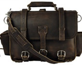Made in USA! Leather Briefcase Messenger Bag, X-LARGE - Rich Chocolate Brown Distressed