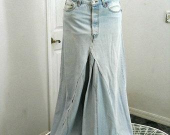 Vintage Levis ballroom jean skirt upcycled high waisted Renaissance Denim Couture fairy goddess mermaid belle bohémienne