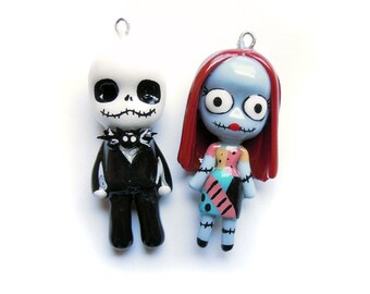 SALE - Jack and Sally - Miniature Sculptures - Charm Pendants