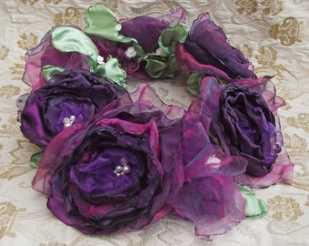 Purple garland flower hair accessory. Handmade flowers. Made to order
