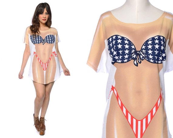80s novelty t shirt cover up bikini imprint illusion american flag