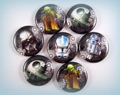 "1"" Inch Star Wars Inspired, Flat Back Buttons, Pins, or Magnets 12 ct., Set B"