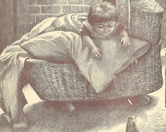 Child in Cradle with Hen and Chicks Original Bookplate from 1886 Worthington's Natural History