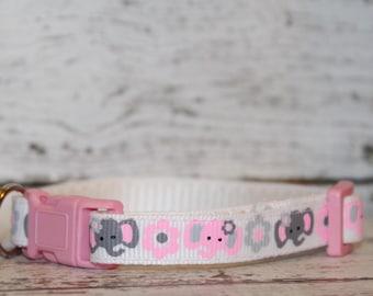 Adjustable Breakaway Cat/Kitten Collar White w/ Pink and Grey Elephants