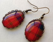 Loopy Setting CUSTOM Tartan Earrimgs - jewelry dangly Scottish Celtic plaid gifts under 50