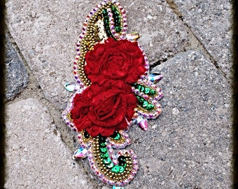 Red Floral Swarovski Crystal Dancer Costume Hairpiece