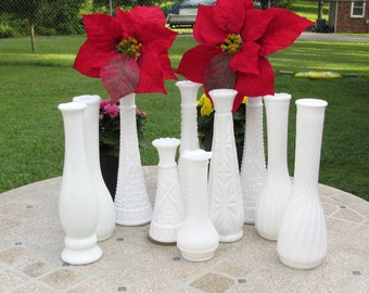 Bud Vase Milk Glass Set of 10 Vases - For Wedding - Table Decor - Party Centerpieces White Milk Glass Bud Flower Vases