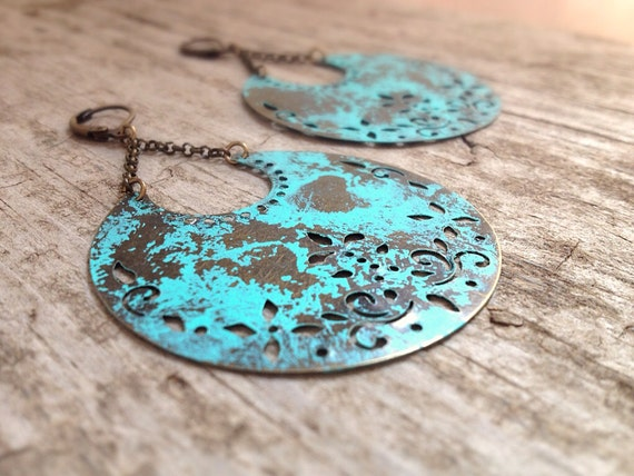 Patina Crescent Moon Earrings, Big Earrings, Gifts For Her, Gypsy Earrings, Turquoise Earrings, Bohemian Earrings, Bohemian Jewelry