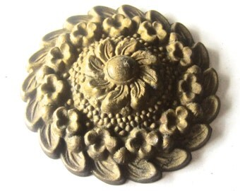 Vintage Stamped Brass  Furniture Embellishment - Applique - Old Metal Flower - DIY Altered Art Jewelry Pendant Supply - Beautiful Patina
