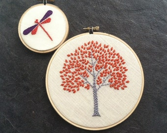Tree & Dragonfly. hand embroidered. hoop art. orange. magenta. citrine. aqua. purple. spring green. wall wear. hand embroidery by  mlmxoxo