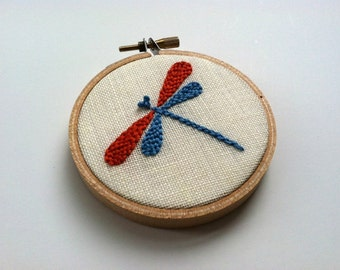 """Hand embroidered dragonfly. 3"""" hoop. bridesmaids' gift. home decor. nursery decor. party favor, hostess gift.  hand embroidered by mlmxoxo"""