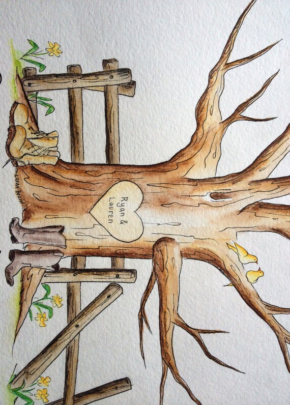 RESERVED for MEGAN KNOPP Wedding Thumbprint Guest Book Tree. Original Water Color Illustration- Custumize 16x20