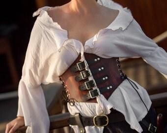 Romantic Leather Waist Cincher Pirate Corset