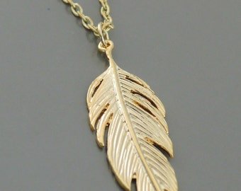 Gold Necklace - Feather Necklace - Layered Necklace - Boho Necklace - handmade jewelry
