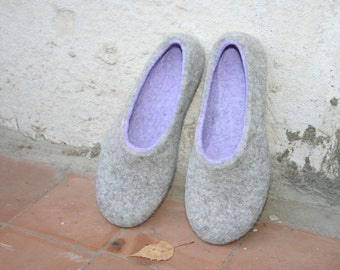 Woman slippers - women house shoes, felted slippers, handmade, made to order, sheep wool - Mother's day gift, Easter gift