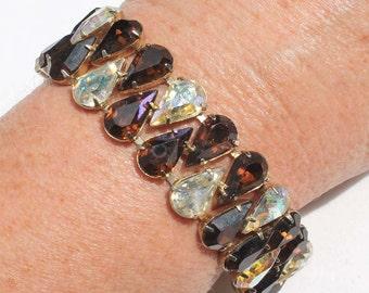 Vintage Smoked Topaz and Aurora Borealis Pear-Shaped Rhinestone Bracelet