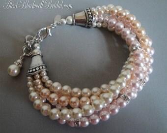 Blush Bridal Bracelet Pearl multi strand in Swarovski Pearls a Twisted design with rhinestone 5 strands in Pink Peach Cream Ivory wedding