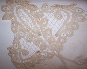 "large 19"" square Antique, VICTORIAN Brussels Net, Tape Lace Table Cover, Pillow...SALE"