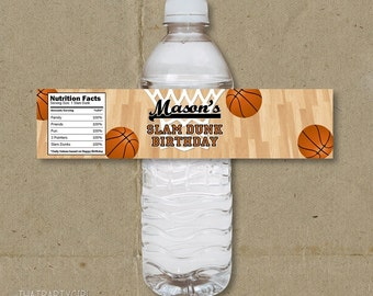 Basketball Birthday Party Water Bottle Labels Favors - Printable DIY