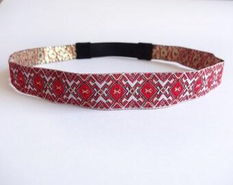 Red and Gold Headband, Boho Headband, Forehead Headband for Women, Hippie Headband