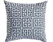 Pillow, Navy Blue Pillow, Blue Pillow Throw Pillow Cover, Euro Size, Decorative Pillow Cover One  Navy Blue Towers Greek Key Navy Pillows