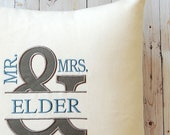 Wedding Pillow Cover, Throw Pillow, Mr. and Mrs. Pillow, Monogrammed Pillow, Wedding Gift, Anniversary Gift Decorative Pillow, Accent Pillow