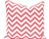 Pillows, Chevron Pillows, Coral Pillows, Coral Chevron Pillow Covers Decorative Throw Pillows Coral on White 20 x 20 Inches Beach Decor