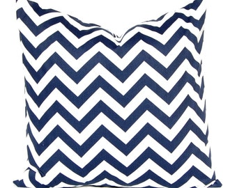 Navy Blue Chevron Pillow Covers - Ready To Ship - Two Blue Pillow Covers