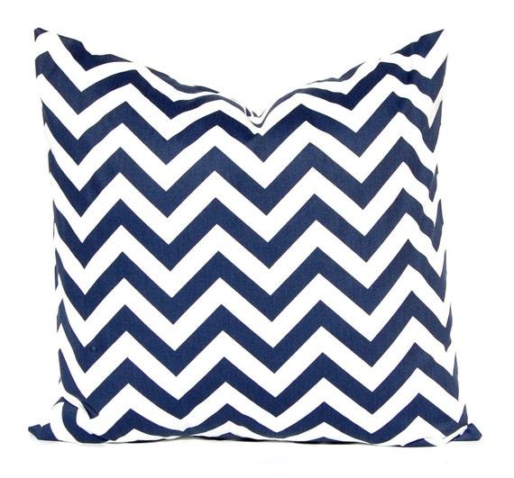 Blue Chevron Pillow Covers,  Navy Blue Pillows Navy Blue Decorative Pillow Covers 18 x 18 Inches - Navy and White Chevron