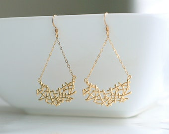 Gold filigree, dangle, earrings - ALYSSA