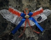 New University of Florida Gators white lace Wedding Single Garter (orange & royal blue).