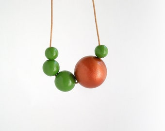 Asymmetric copper and green necklace, long wooden necklace, eco friendly jewelry, wood necklace, minimal jewelry