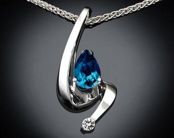 blue topaz necklace, December birthstone,London blue topaz, wedding necklace, fine jewelry,  Argentium silver, white sapphire - 3380
