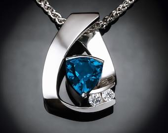 blue topaz necklace, London blue topaz pendant, December birthstone,  white sapphire, modern jewelry, Argentium silver - 3452
