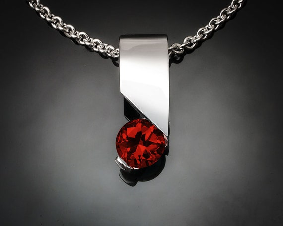 garnet necklace, garnet pendant, silver pendant, Mozambique garnet,  Argentium silver, January birthstone, modern jewelry, for her - 3460
