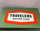 Vintage Travelers Motor Club Green Metal Storage Recipe Card Box