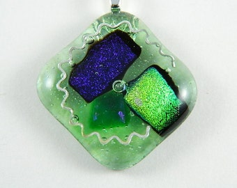 Purple and Green Dichroic Fused Glass Pendant