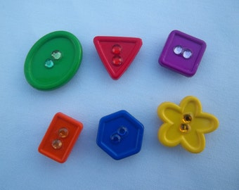 Geometric Shape Magnets / Set of Six Magnets / Colorful Magnets